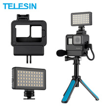 TELESIN Vlog Housing Case for Gopro Hero 7 6 5 Black Plastic Cage Cold Shoe Rotatable Microphone Adapter LED Light Color Filter