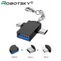 Adaptador OTG 2 en 1 tipo C, microusb a USB 3,0, convertidor de transferencia de datos para teléfono Android, conector para Samsung S10, iPhone 11