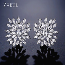 ZAKOL Luxury Marquise Cut AAA Cubic Zirconia Stud Earrings Fashion Leaf Bridal Wedding Party Dinner Dress Accessories FSEP2337