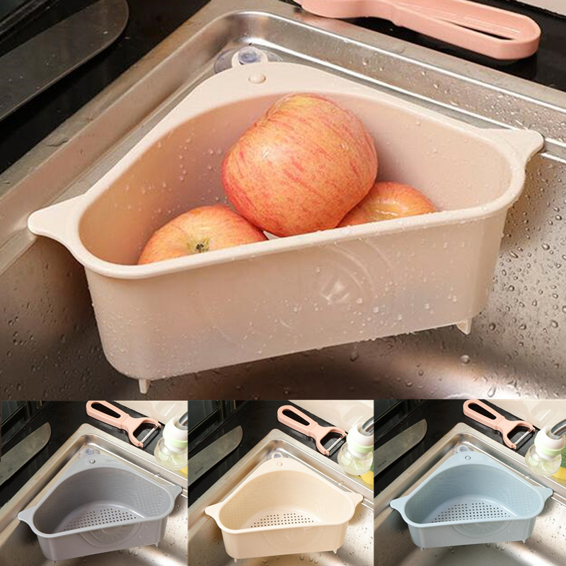 Household Vegetable Washing Drain Triangle Sieve Suction Cup Sink Shelf Soap Sponge Drain Rack Kitchen Storage Tool