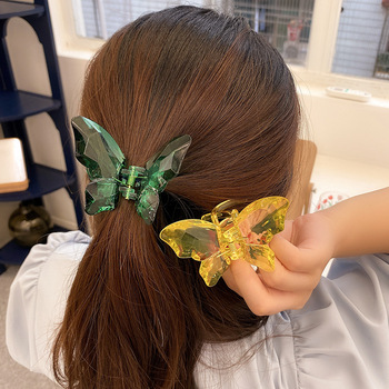 Kerean Style Hairpin Big Crystal Butterfly Hair Claw Ponytail Holder Clips Crabs For Headwear Accessories 2020
