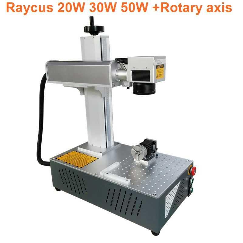 20w 30w Raycus PVC ABS anillo nombre placa Aluminio Acero inoxidable fibra láser máquina de marcado de metal láser grabador con rotary