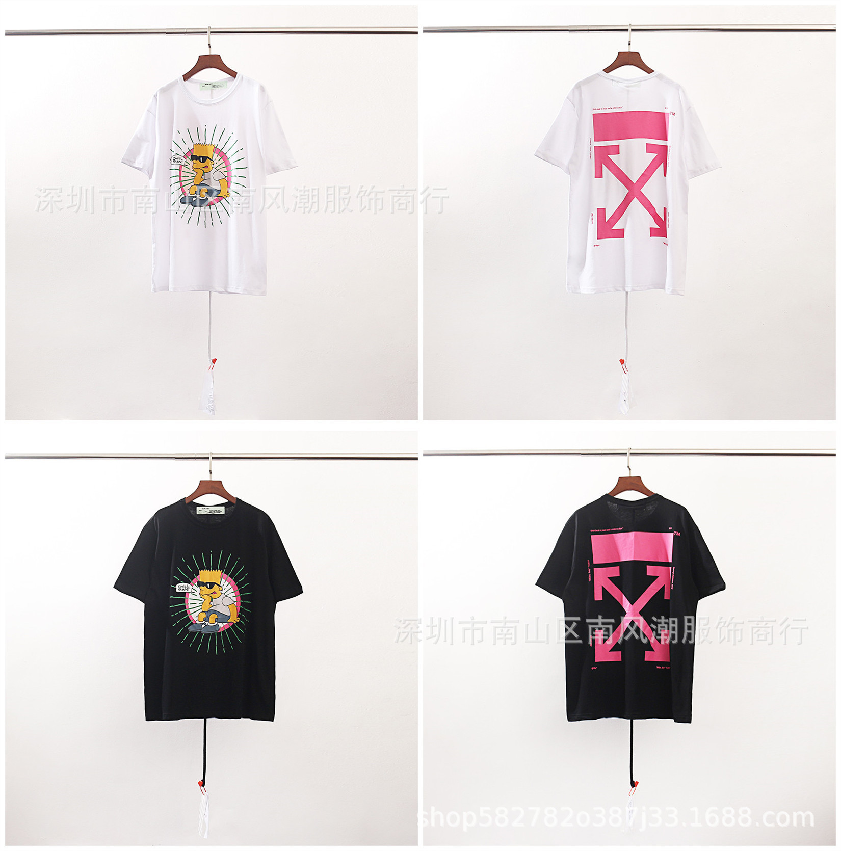 Off White Europe And America Popular Brand Ow New Style 2019 Pink Arrowhead Simpson Of A Joint Pure Cotton Short Sleeved T-shirt
