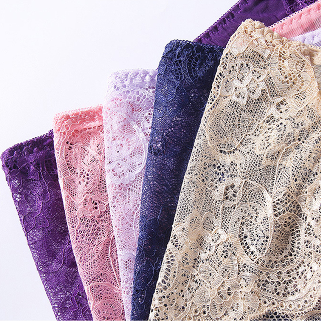 3pcs/lot Sexy Lace Panties For Women Seamless Lingerie High-rise String Briefs Transparent Underpants Female Underwear #F 3