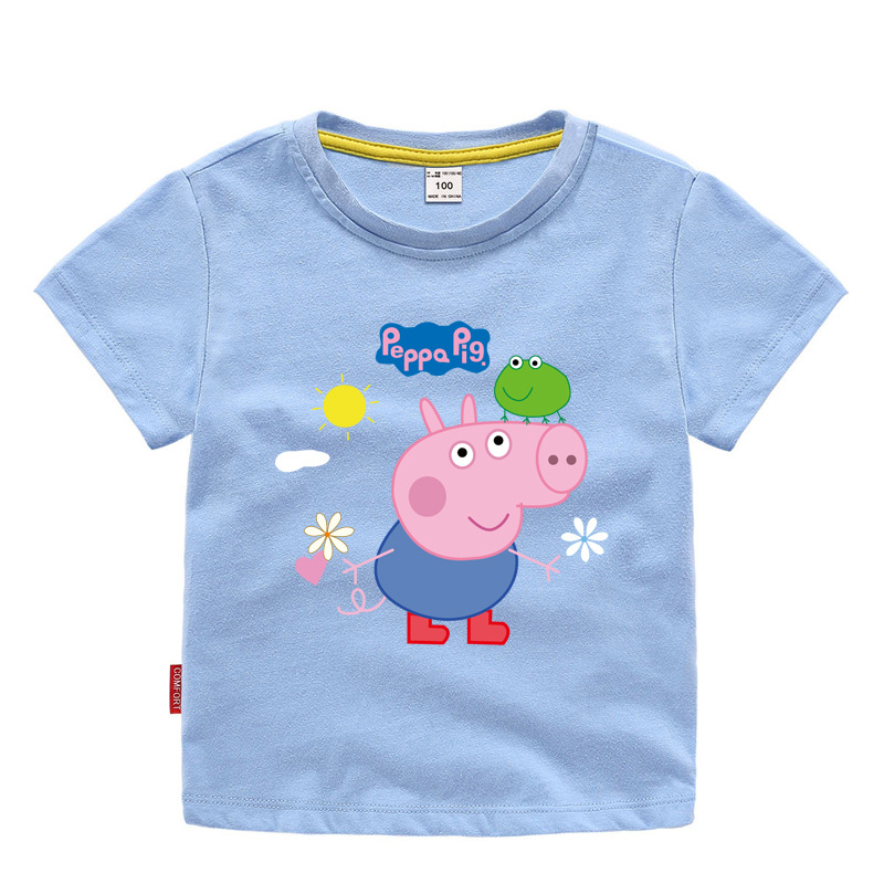 Peppa Pig George Frog Summer Baby Girl Cartoon T-shirt Kid Clothes Chase Rocky Short Sleeve Cotton T-shirt Clothes 3-11Y