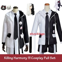 Anime Danganronpa V3: Killing Harmony Cosplay Monokuma Uniform Cosplay Costume Jacket Coat+Shirt+Short Full Set