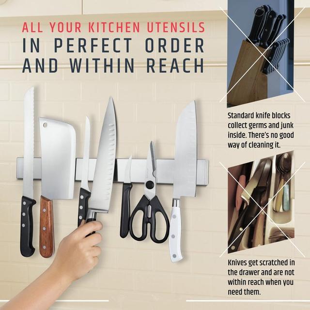 LMETJMA Professional Magnetic Knife Strip Stainless Steel Magnetic Knife Holder Rack Kitchen Knife Bar 30 40 50 cm KC0314 5