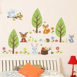 Настенная Наклейка с изображением леса животных бабочки для детской комнаты, Настенная Наклейка на окно, домашний декор, украшение для гост...