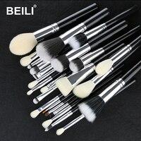 BEILI Schwarz 25 stücke Make-Up Pinsel Set Ziege Synthetische Haar Foundation Pulver Erröten Blending Augenbrauen Lidschatten Make-up Pinsel Werkzeuge