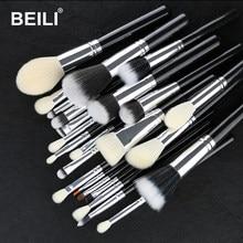 BEILI – ensemble de pinceaux de maquillage noirs, 25 pièces, poils de chèvre synthétiques, poudre de fond de teint, Blush, mélange, sourcils, ombre à paupières