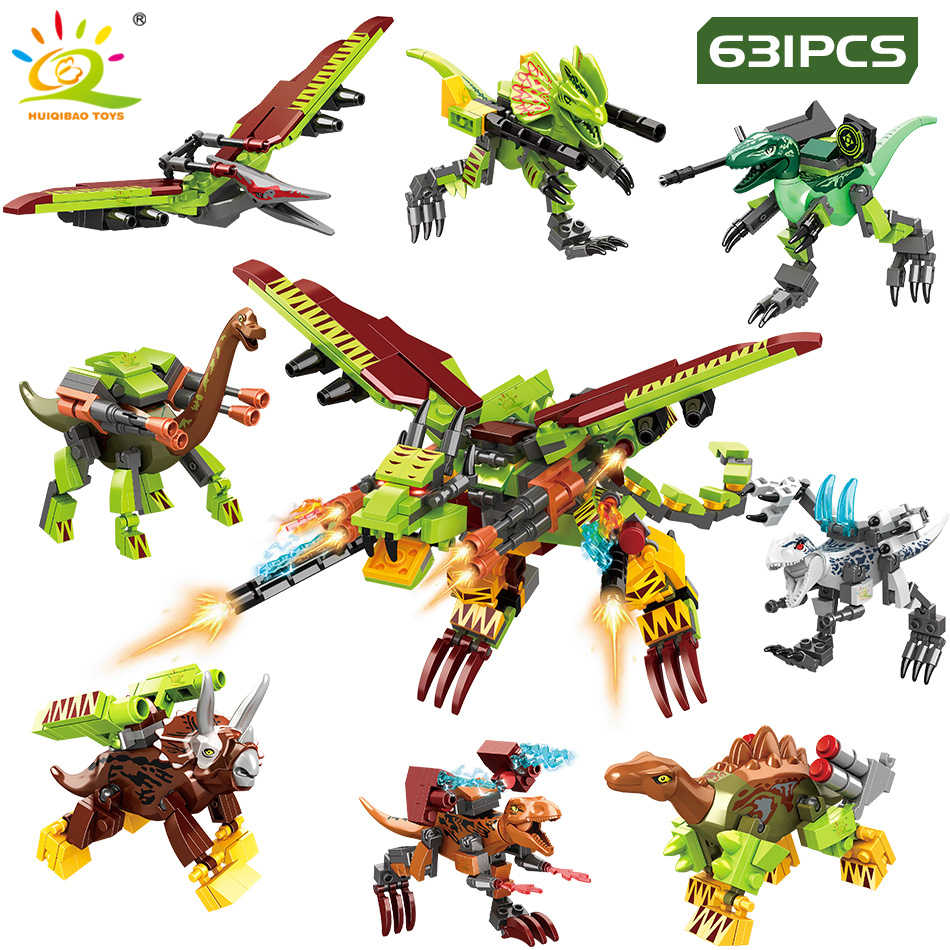 631 sztuk Dragon Mecha World Building Blocks Legoingly Jurassiced dinozaur transformowany broń Park walka cegły figurki zabawki dziecko