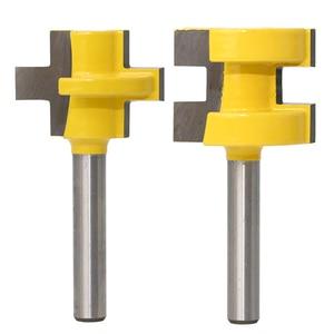 """Image 4 - 2 sztuk 1/4 """"8mm zestaw do cięcia frezu Shank Tongue & Groove zestaw bitów rozwiertaków 3 zęby t kształt akcesoria do drewna narzędzia do obróbki drewna"""