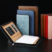 Cuaderno diario A6 A5 B5, carpeta con espiral con bolsa de cremallera, carpeta de negocios, Manual Padfolio