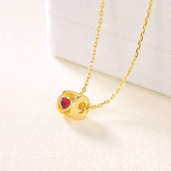 18k Gold Plated Jewelry Red Crystal Necklace Female 925 Sterling Silver Fashion Jewelery Necklace Friends Jewellery for Women 1
