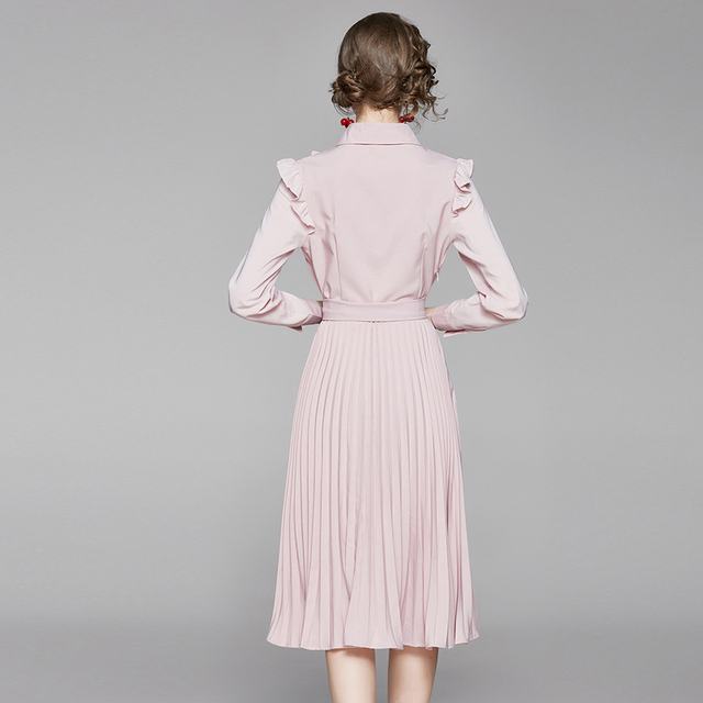 2020 New Autumn Ruffles Pink Chiffon Dress Women Long Sleeve Slim Waist Belted Pleated Dress Female Pearls Button Midi Dress 4