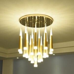 Image 4 - Nordic moderno lustre de cristal sala estar quarto pendurado lâmpada escada decoração pingente lustres led iluminação interior