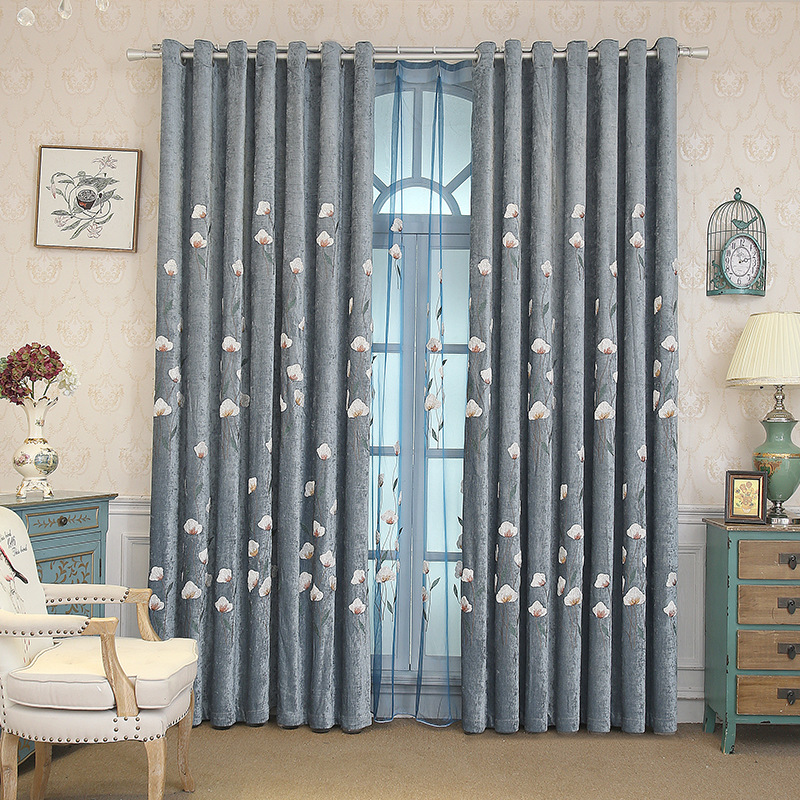 Pastoral Modern Chenille Embroidered Curtains Living Room Bedroom