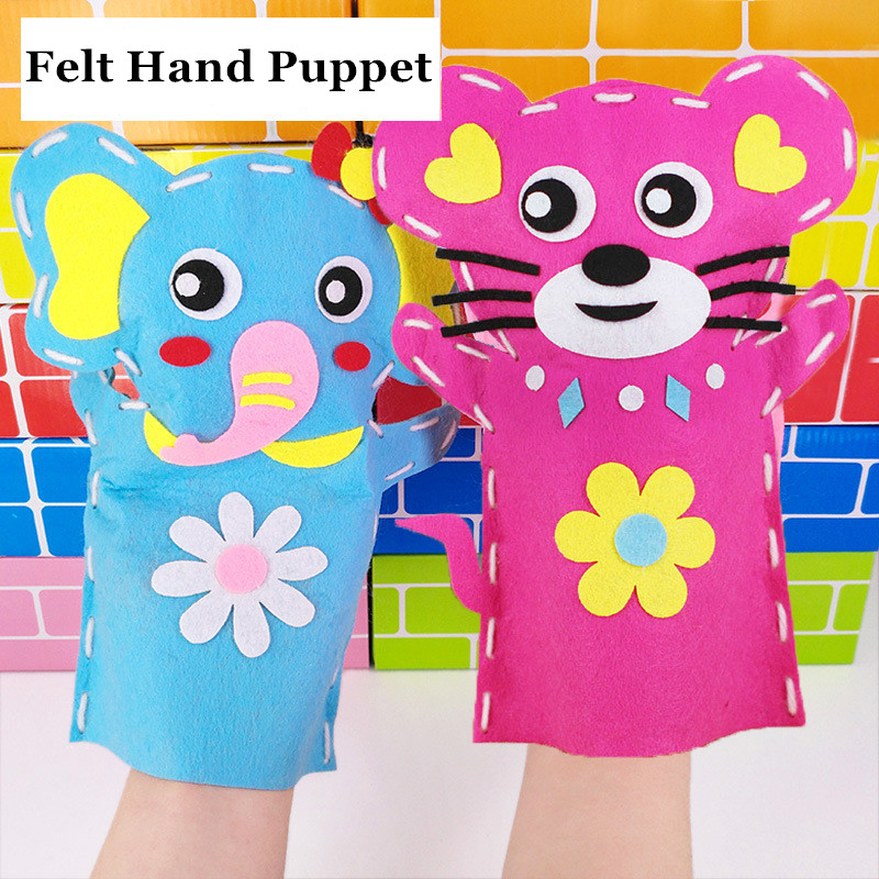 1pc Cute Animals DIY Sewing Kit Kids Felt Toys For Children Hand Puppet Theater Craft Fabric Story Telling Glove Educatioal Doll
