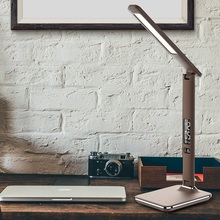 Artpad Modern Business Desk Lamp 3 Brightness Dimmable Foldable Arm LED Touch Table Lamp With Display Alarm Clock Calendar artpad business office desktop light 15 level brightness touch dimmable foldable led table desk lamp with alarm calendar display
