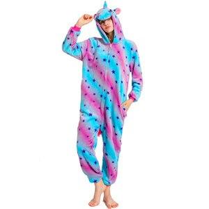 Image 5 - 女性パジャマパジャマ大人フランネルパジャマホームウェア着ぐるみユニコーンステッチパンダ漫画の動物パジャマセット pijamas
