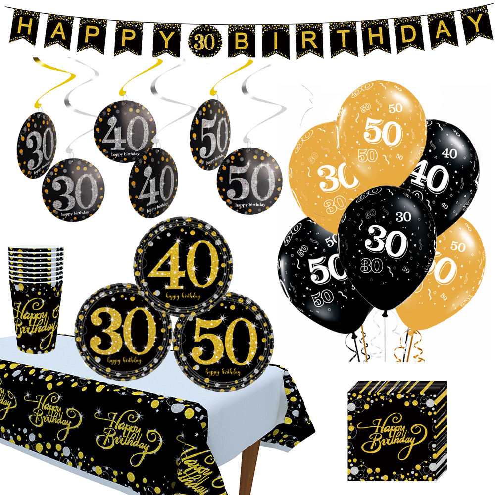 10pcs 12inch Birthday Balloons Air Balls Black Gold <font><b>30</b></font> 40 50 Birthday Party <font><b>Decorations</b></font> Adult Helium Balloon Foil Latex Baloon image