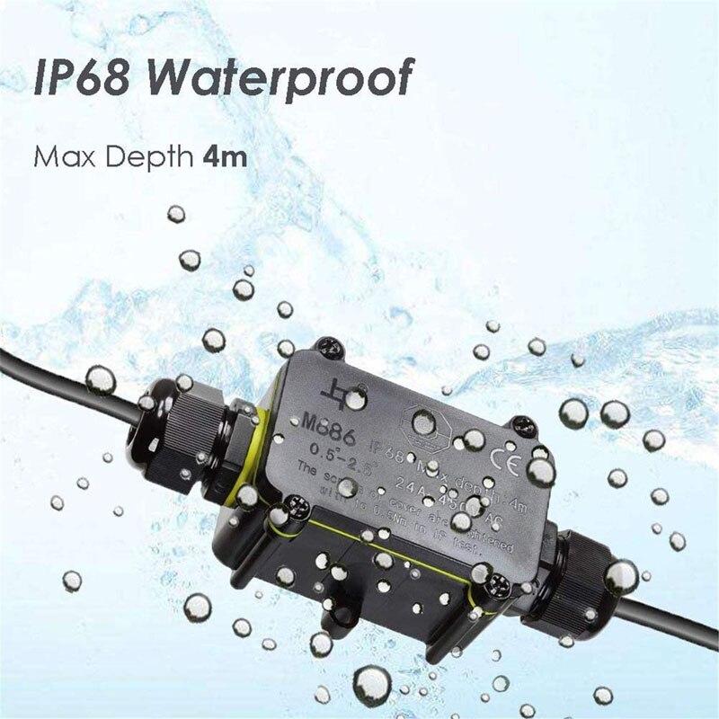 Ip68 waterproof a caixa de junção elétrica 24a 450v selou o conector exterior retardador da glândula da maneira 3pin 6-12mm da caixa de junção 2