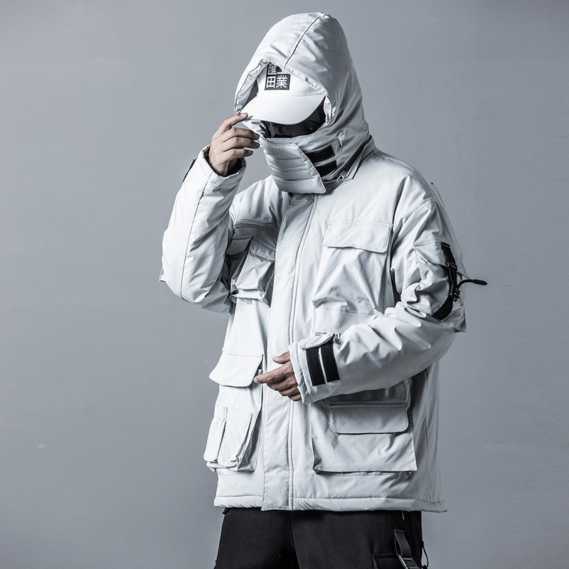 US Size Mens Winter Jackets Coat Streetwear Casual Cargo Parkas Tactics Function Hoody Coat Multi-pocket Warm Male DG506