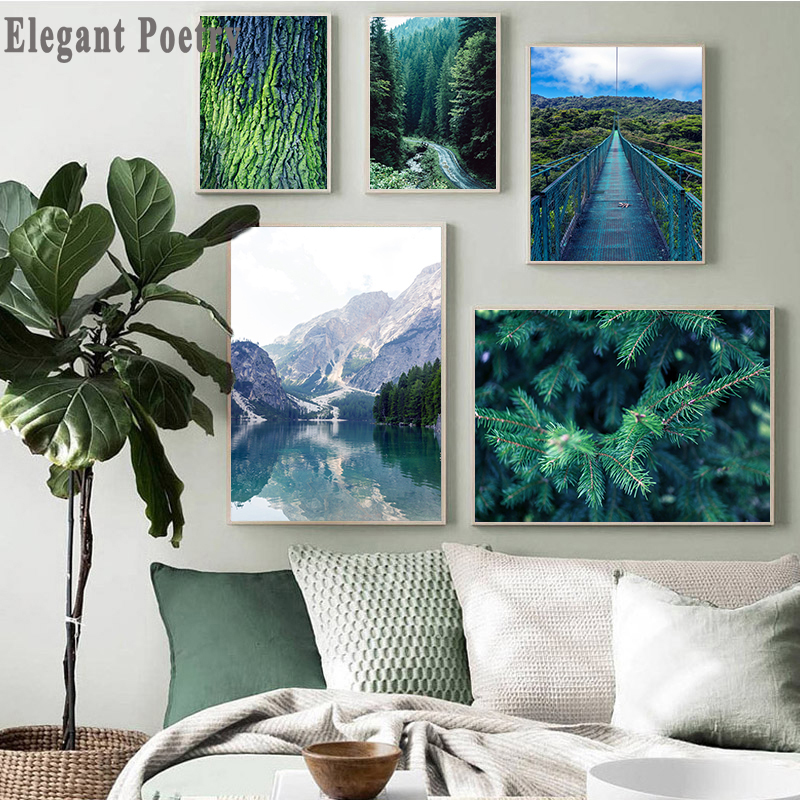Mountain Lake Forest Bridge Landscape Picture Scandinavian Poster Scenery Nature Canvas Wall Art Print Painting Nordic Decoation