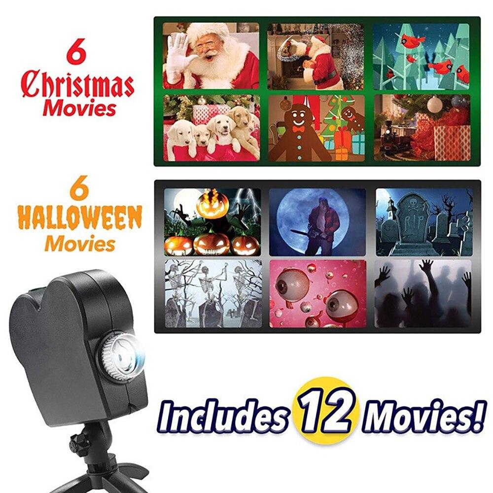 Fenêtre affichage Laser DJ scène lampe noël projecteurs projecteur pays des merveilles 12 films projecteur lampe Halloween fête lumières