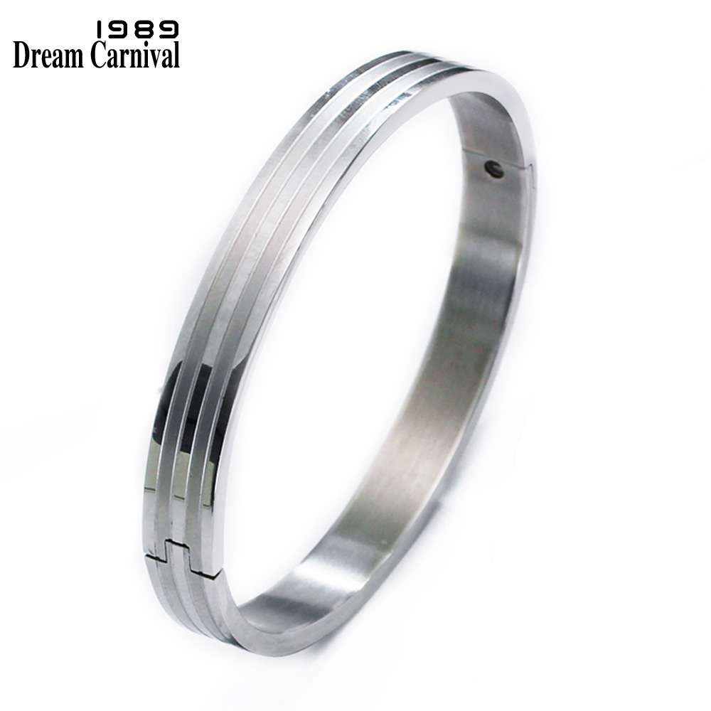DreamCarnival 1989 Big Small Size Bangle Set for Lovers Romantic Love Custom Engrave Stainless Steel Cuff Bangle Set Unisex 3087