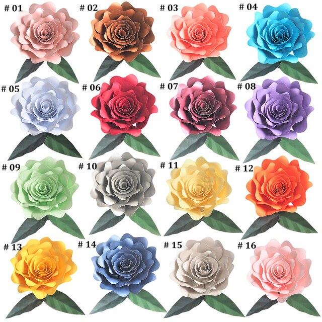 Sztuczne kwiaty 15CM + 2 sztuk liście 15CM zestaw Fleurs tło DIY Giant papierowe kwiaty na ślub wystrój Baby Shower
