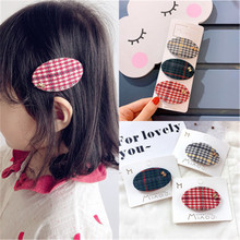 Korean Fabric Plaid Oval Cute Kids Children Girls Fall Winter BB Hairpins Hair clips Head wear Hair Accessories-SWC5-W5 цена и фото