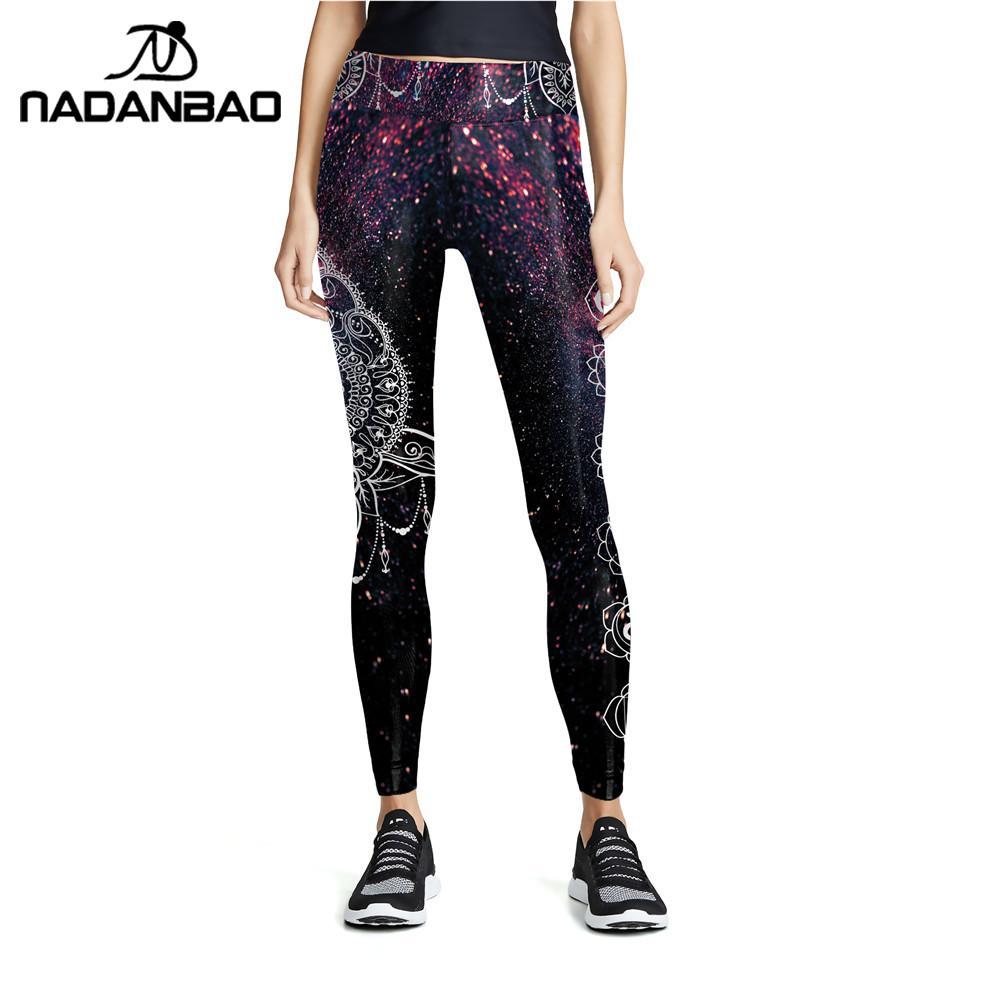 NADANBAO Fashion Women Purple Printing Mandala Leggings High-Waist Workout Elastic Pants Fitness Stretch Slim Bottoms Trouser