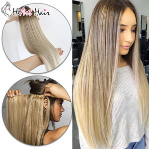 Hiart Weft Hair-Extensions Double-Drawn Remy-Hair Human Real Straight 18-20-Salon Balayage