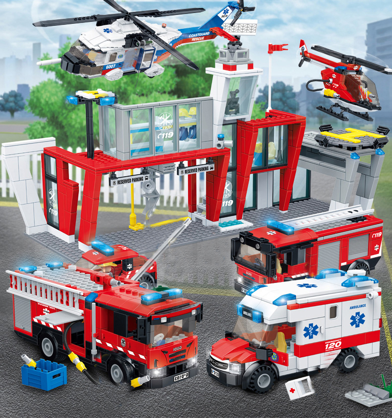 New City Fire Rescue Bricks Medical Ambulance Rescue Helicopter Fire Truck Legoes Building Blocks Children Toy Gifts