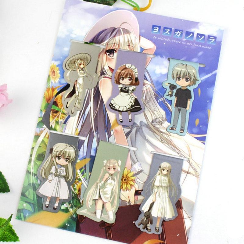 6pcs Yosuganosora Anime Magnetic Bookmark Cartoon Magnet Bookmark Child Student Kawaii Gift Bookmarks Office Stationery