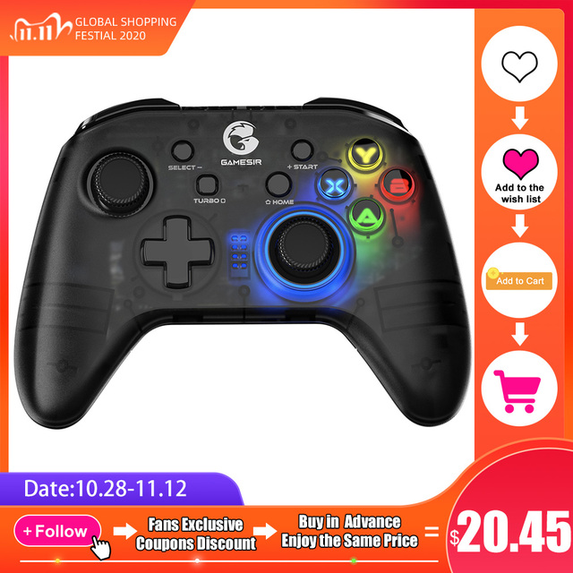 GameSir T4 Pro / T4W Gamepad Controller 2.4 GHz  Joystick for PC Game with USB Receiver Wired Gamepad for Windows (7/8/9/10) PC