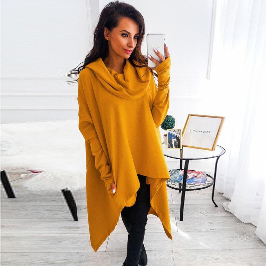 Womens Turtleneck Hoodies Sweatshirts Solid Long Sleeve Irregular Hoodie Sweatshirt Loose Baggy Jumper Pullover Tops #38