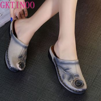2020 Summer Slippers Genuine Leather Shoes Women Slides Flower Handmade Comfortable Flat Sandals - discount item  30% OFF Women's Shoes