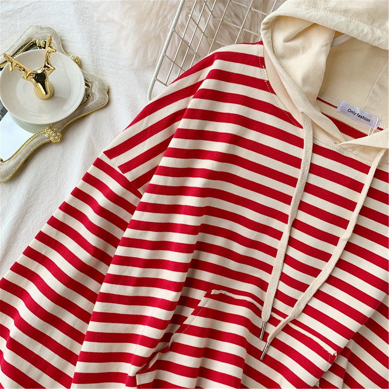 Women's Autumn Hoodies Striped Knit Sweatshirts Patchwork Hooded Woman Loose Lady Hoodie Japan Style Girls Tops LS202 42
