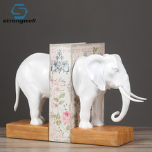 Strongwell Creative Resin Elephant Statue Home Decor Crafts Room Decoration Office Study Vintage Elephant Bookend Figurine bookend vintage home decoration book end globe bookend decorations crafts livros