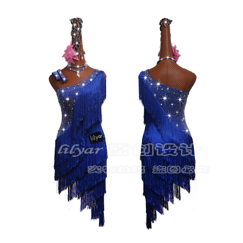 Sparkly Rhinestones Latin Competition Dance Dress Women Sexy Blue Fringed Dance Skirt Female Festival Stage Performance Clothing