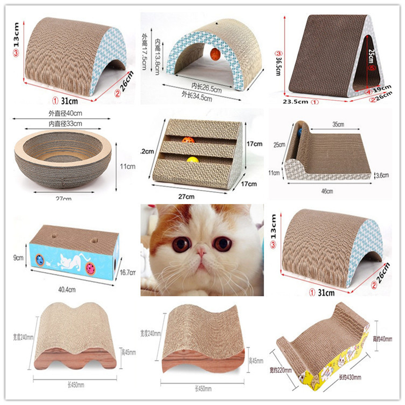 Paw Strip Bowl Corrugated Cardboard Cat Toy Scratcher Rolling Bell Ball Cat Scratch Pad Board Catnip Beds Pet Toys Products
