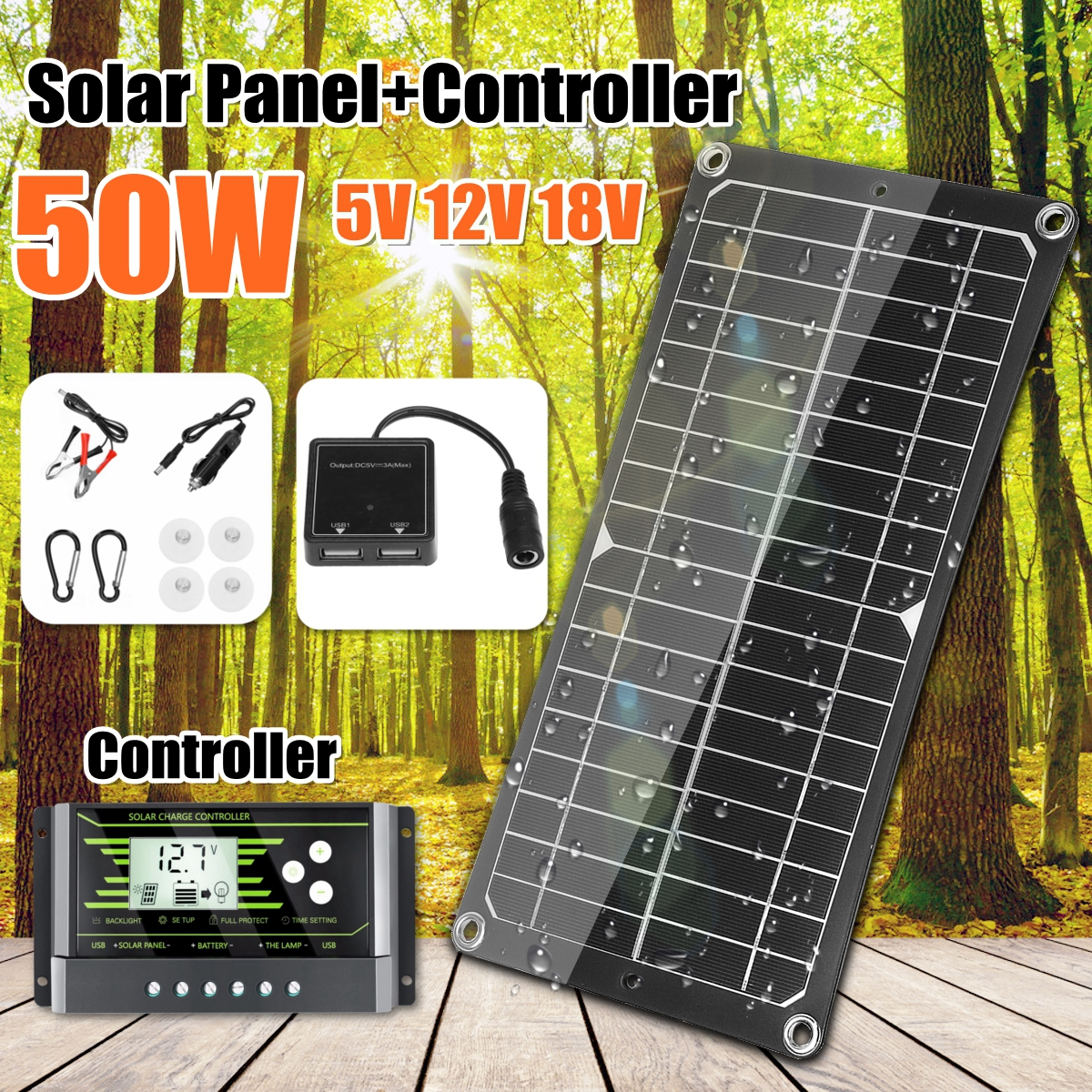 50W 18V Solar Panel Dual USB Output Solar Cells Poly Solar Panel 10/20/30A Controller for Car Yacht Battery Boat Charger image