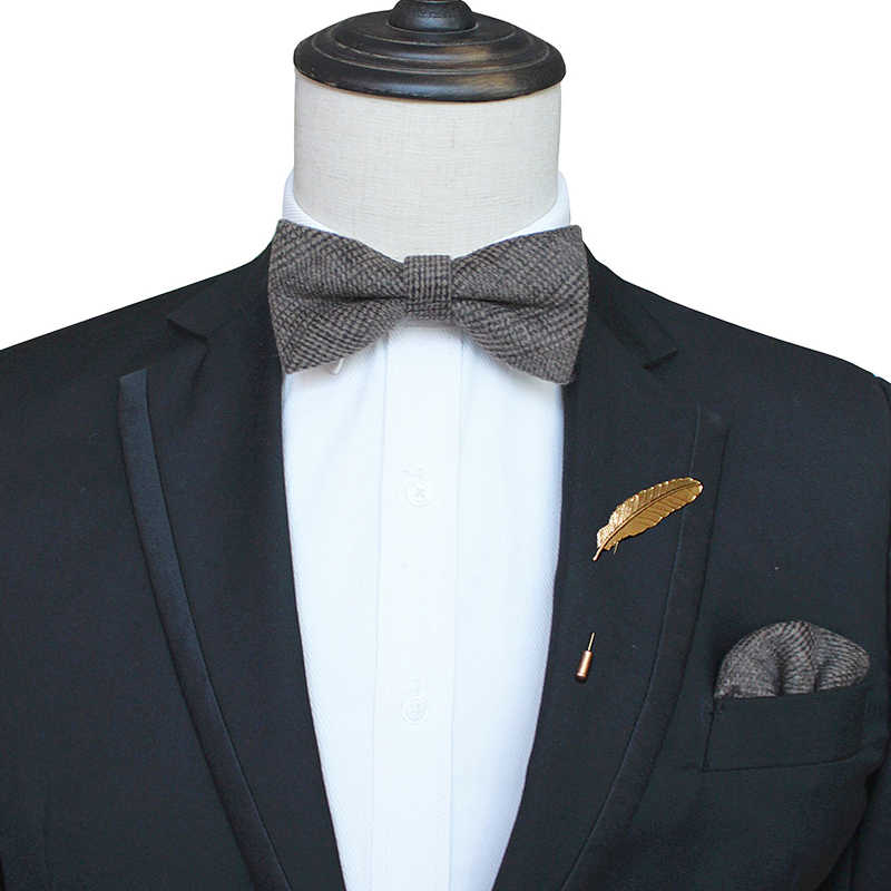 JEMYGINS אופנה בציר צמר עניבות פרפר גברים עניבות קשמיר עצמי Bowtie Pocket כיכר & פין סט למסיבת חתונה להראות עניבת