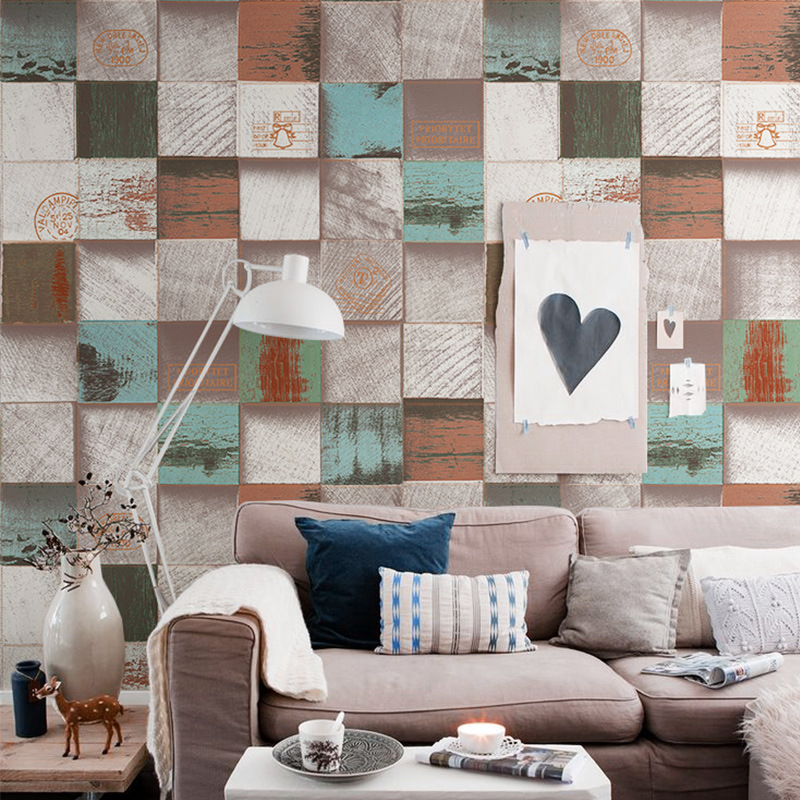 PVC HD motif coeur blocs de bois papier peint antique 3D grain de bois vêtements magasin restaurant fond mur art décoration de la maison