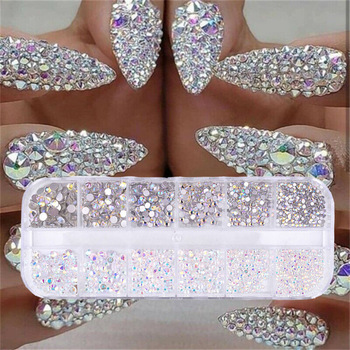 12 boxes / set of AB crystal rhinestone diamond gem 3D glitter nail art decoration beauty 1