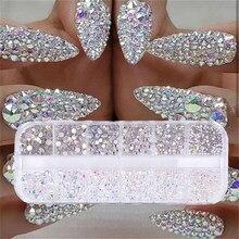 12 kutular/set AB kristal rhinestone elmas mücevher 3D glitter nail art dekorasyon güzellik
