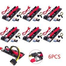 PCI Express PCI E بطاقة الناهض PCIE 1X إلى 16X موسع Pcie الناهض محول بطاقة SATA 15pin إلى 6 دبوس الطاقة للتعدين جهاز تعدين بيتكوين