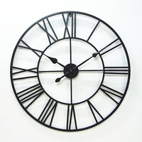 Large 80cm European Style Retro Iron Art Wall Clock Living Room Decorative Wall Clock Simple Creative Roman Clock Factory Direct